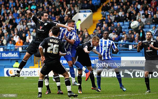 Gary Madine of Sheffield Wednesday scores his second goal from a header during the npower League One match between Sheffield Wednesday and Preston...