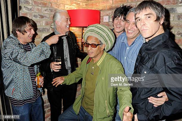 Gary 'Mani' Mounfield, Jimmy Page, Don Letts, John Squire, Alan 'Reni' Wren and Ian Brown attend as The Stone Roses perform a secret gig at adidas...