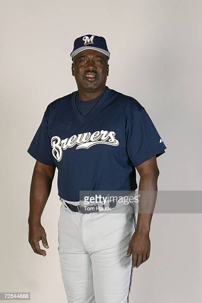 Gary Mathews coach of the Milwaukee Brewers poses for a photo during Team Photo Day at the Brewers Training Facility in Marysville Az Digital Photo...