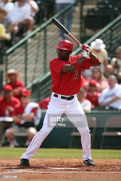 Gary Matthews Jr of the Los Angles Angels of Anaheim bats during the game against the San Diego Padres at Tempe Diablo Stadium in Tempe Arizona on...