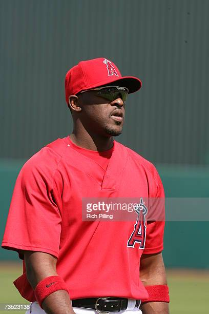 Gary Matthews Jr of the Los Angles Angels of Anaheim looks on prior to the game against the San Diego Padres at Tempe Diablo Stadium in Tempe Arizona...