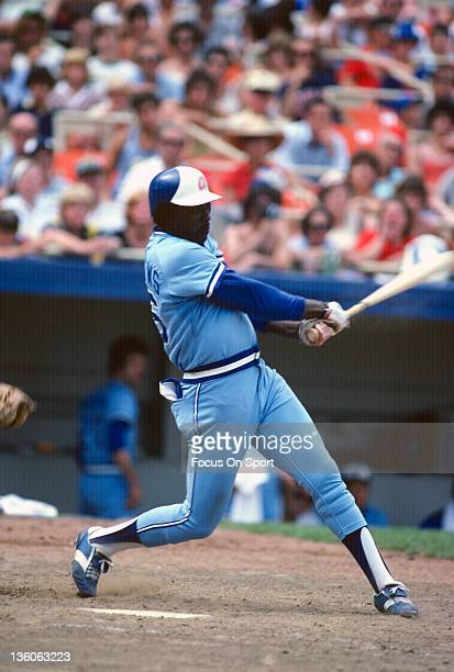 Gary Matthews of the Atlanta Braves bats against the New York Mets during an Major League Baseball game circa 1980 at Shea Stadium in the Queens...