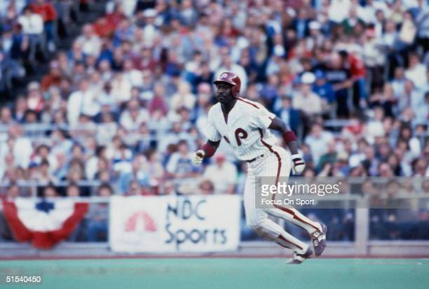 Gary Matthews of the Baltimore Orioles runs the bases against the Philadelphia Phillies at second during the World Series at Veterans Stadium in...