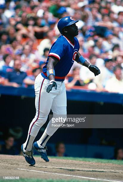 Gary Matthews of the Chicago Cubs bats against the New York Mets during an Major League Baseball game circa 1984 at Shea Stadium in the Queens...