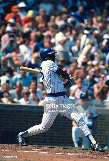 Gary Matthews of the Chicago Cubs bats during an Major League Baseball game circa 1985 at Wrigley Field in Chicago Illinois Matthews played for the...