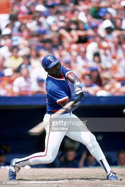 Gary Matthews of the Chicago Cubs swings the bat during a game in July of 1984