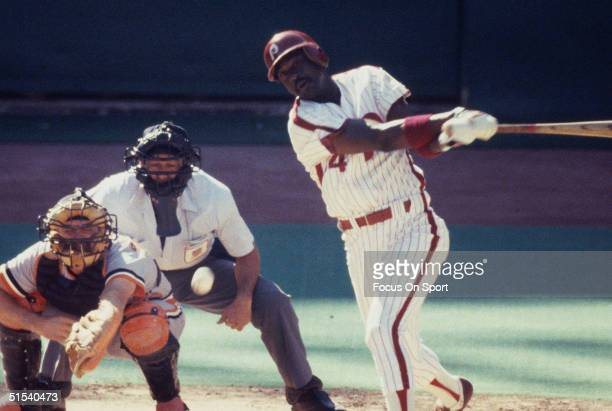 Gary Matthews of the Philadelphia Phillies bats against the Baltimore Orioles during the World Series at Veterans Stadium in Philadelphia...