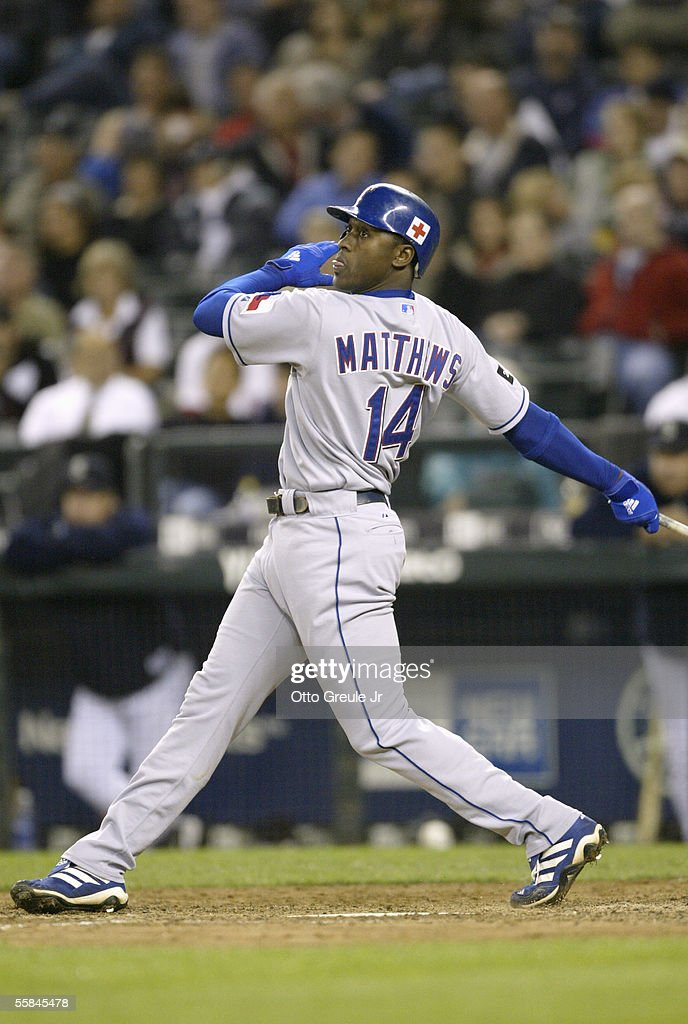 Gary Matthews #14 of the Texas Rangers swings at the pitch during the game against the Seattle Mariners on September 28 2005 at Safeco Field in Seattle Washington. The Rangers won 7-3.