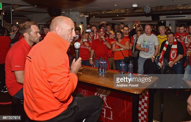 Gary McAllister and Jason McAteer legends of Liverpool during a question and answer session with fans at Cheers Bar on May 23 2017 in Sydney Australia