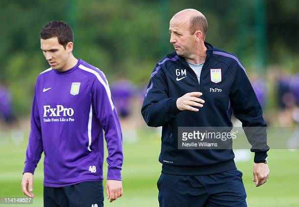 Gary McAllister assistant manager of Aston Villa trains at the Aston Villa Training Ground Bodymoor Heath on May 13 2011 in Birmingham England