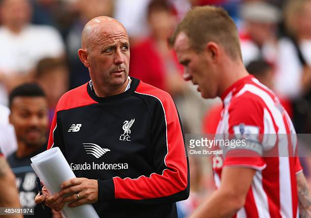 Gary McAllister first team coach of Liverpool looks on during the Barclays Premier League match between Stoke City and Liverpool at Brittania Stadium...
