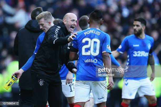 Gary McAllister of Rangers speaks to player Alfredo Morelos during the Ladbrokes Scottish Premier League between Celtic and at Ibrox Stadium on...