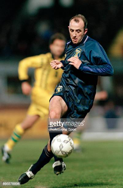 Gary McAllister of Scotland in action during an International Friendly between Scotland and Australia at Hampden Park on March 27 1996 in Glasgow...