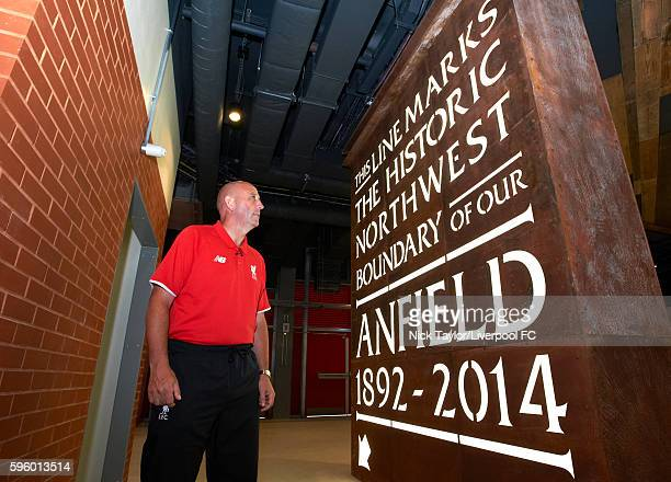 Gary McAllister poses in the concourse of level 2 in the new Main Stand at Anfield on August 26 2016 in Liverpool England