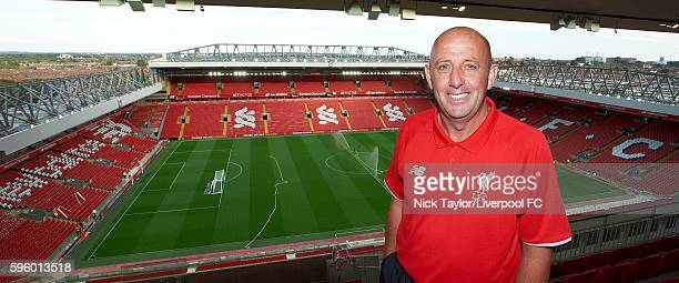 Gary McAllister poses in the upper tier of the new Main Stand at Anfield on August 26 2016 in Liverpool England