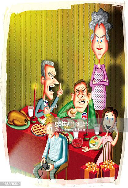 Gary Meader color illustration of displeased mother standing by her holiday dinner table where political arguments video gameplaying and phone...