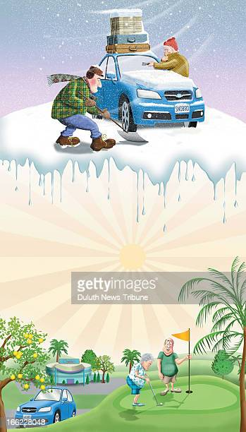 Gary Meader color illustration of folks digging their car out from snow with luggage on car to enjoy sunny Florida golfing For stories about people...