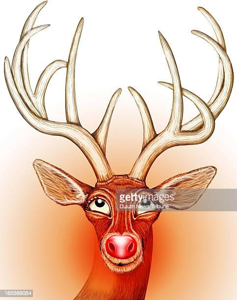 Gary Meader color illustration of Rudolf the rednosed reindeer