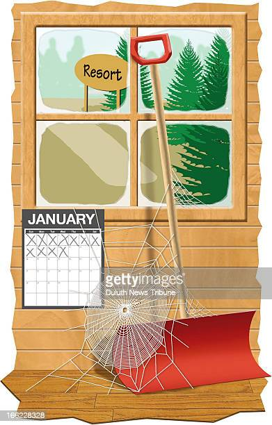 Gary Meader color illustration of snow shovel spider web and calendar marking off the first weeks of January sitting in empty resort cabin Can be...