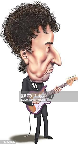 Gary Meader illustration of singer/songwriter Bob Dylan