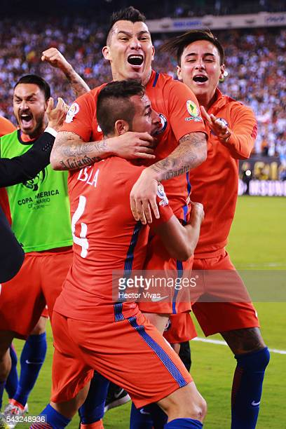 Gary Medel Mauricio Isla and Erick Pulgar of Chile celebrate after winning the championship match between Argentina and Chile at MetLife Stadium as...