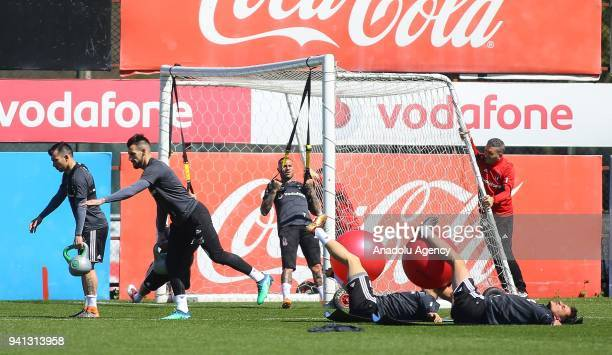 Gary Medel Negredo and Ricardo Quaresma of Besiktas attend a training session ahead of Turkish Super Lig match against Goztepe at BJK Nevzat Demir...