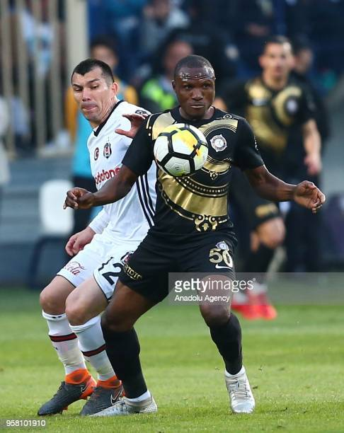 Gary Medel of Besiktas in action against Aminu Umar of Osmanlispor during Turkish Super Lig match between Osmanlispor and Besiktas at Yenikent...