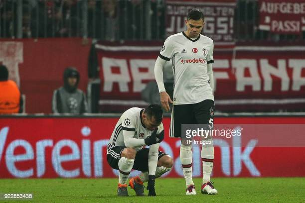 Gary Medel of Besiktas Istanbul and Pepe of Besiktas Istanbul looks dejected during the UEFA Champions League Round of 16 First Leg match between...