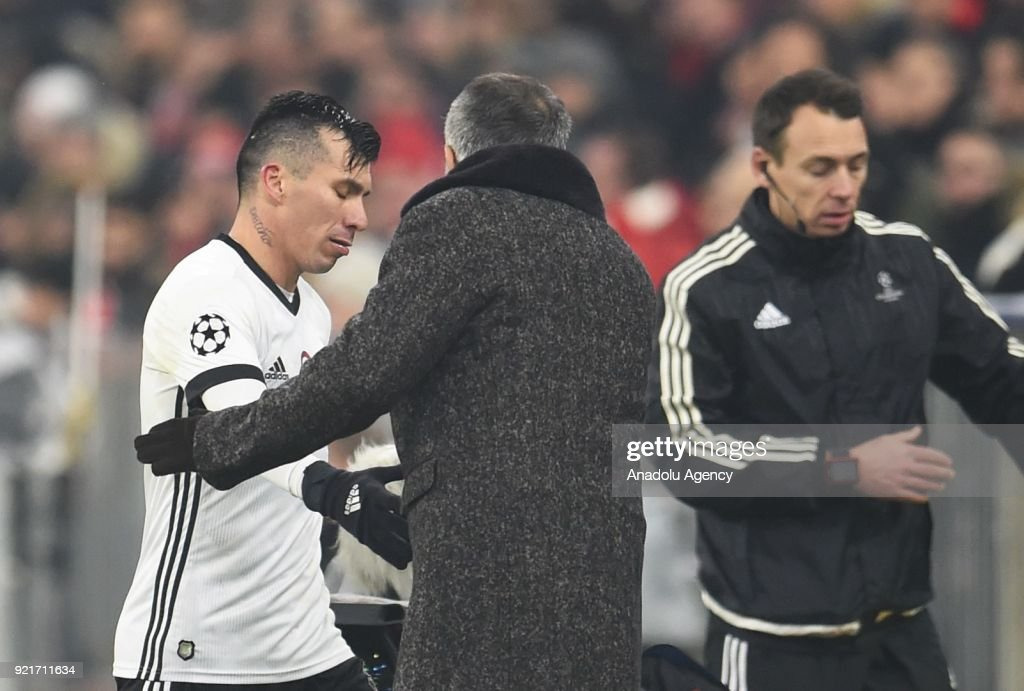 Gary Medel of Besiktas reacts after his substitution during the UEFA Champions League Round of 16 soccer match between FC Bayern Munich and Besiktas at the Allianz Arena in Munich, Germany, on February 20, 2018.