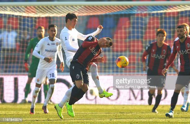Gary Medel of Bologna FC reacts during the Serie A match between Bologna FC and ACF Fiorentina at Stadio Renato Dall'Ara on January 06 2020 in...