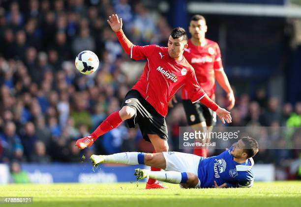 Gary Medel of Cardiff City in action with Kevin Mirallas of Everton during the Barclays Premier League match between Everton and Cardiff City at...