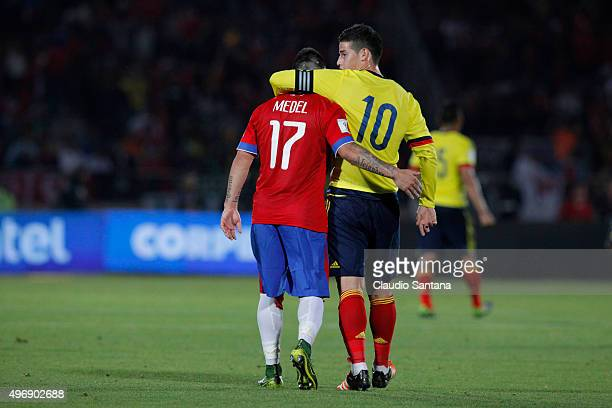 Gary Medel of Chile and James Rodriguez of Colombia hug during a match between Chile and Colombia as part of FIFA 2018 World Cup Qualifiers at...