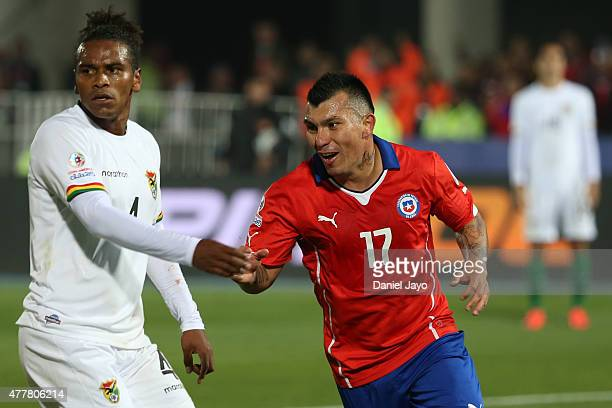 Gary Medel of Chile celebrates after scoring the fourth goal of his team during the 2015 Copa America Chile Group A match between Chile and Bolivia...