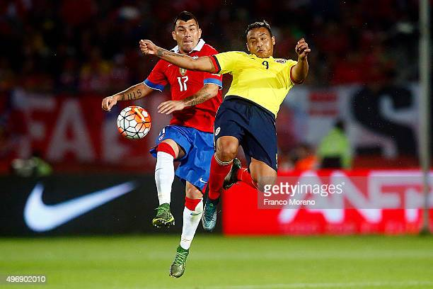 Gary Medel of Chile fights for the ball with Luis Muriel of Colombia during a match between Chile and Colombia as a part of FIFA 2018 World Cup...