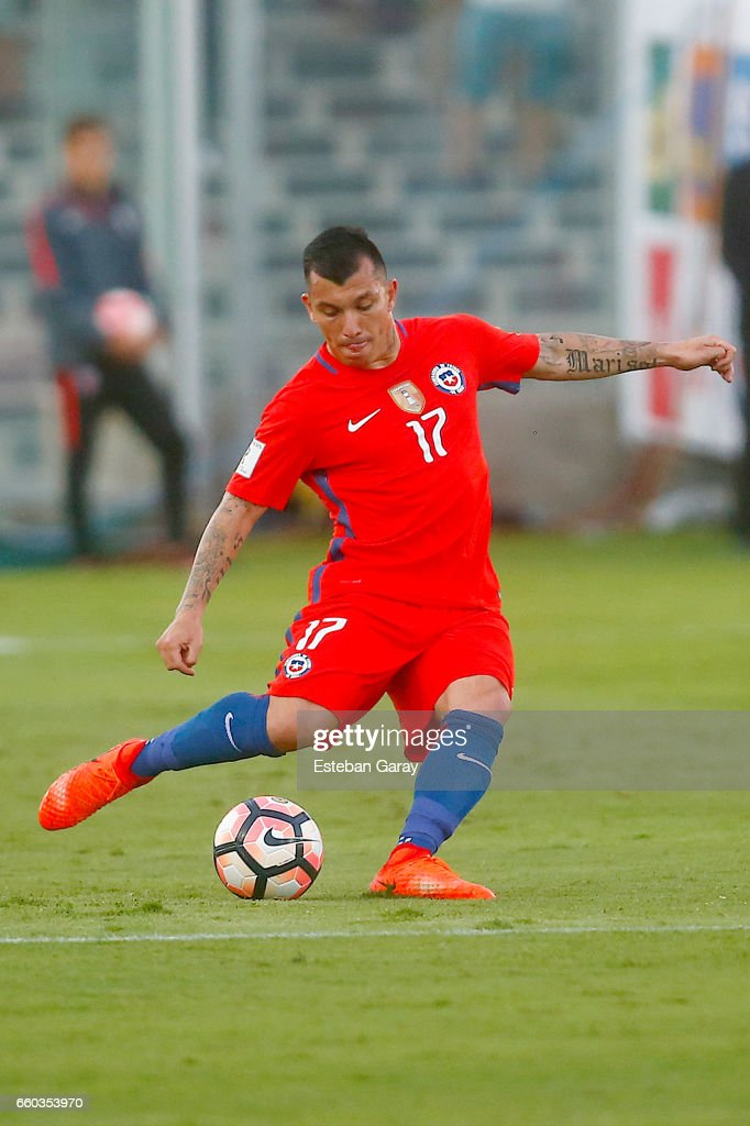 Gary Medel of Chile kicks the ball during a match between Chile and Venezuela as part of FIFA 2018 World Cup Qualifiers at Monumental Stadium on March 28, 2017 in Santiago, Chile.