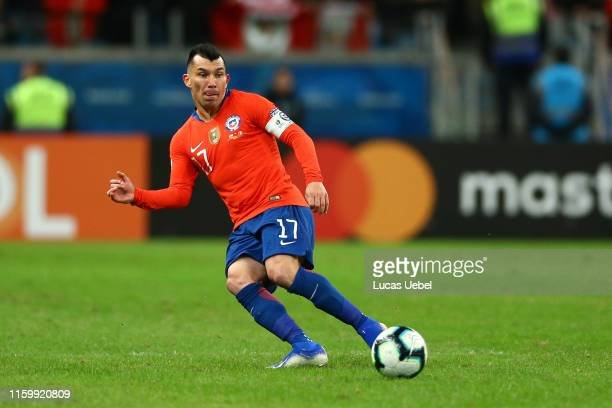 Gary Medel of Chile kicks the ball during the Copa America Brazil 2019 Semi Final match between Chile and Peru at Arena do Gremio on July 03 2019 in...