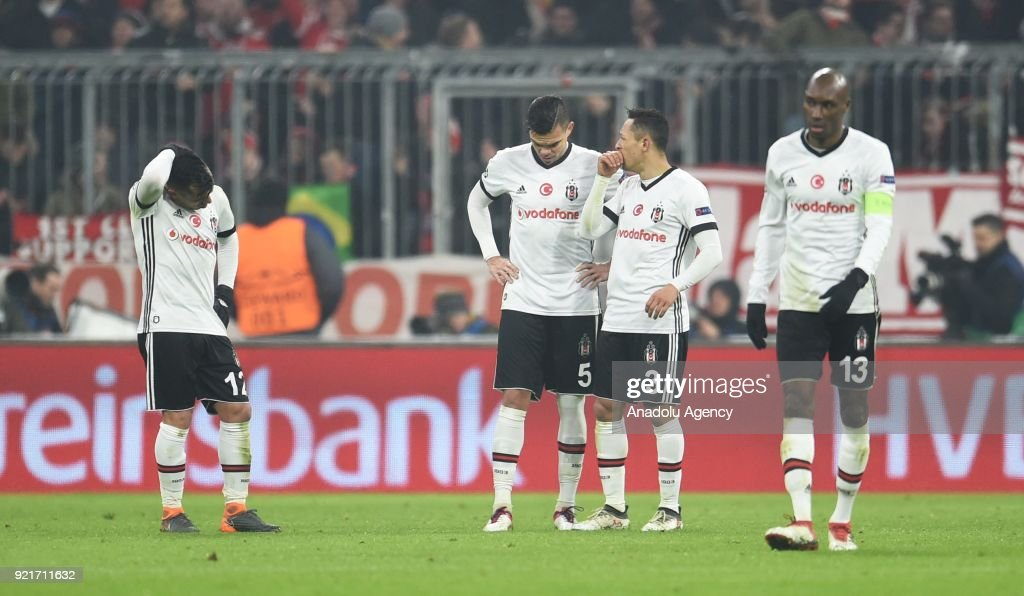 Gary Medel, Pepe, Adriano, Atiba Hutchinson of Besiktas react after a goal of Bayern Munich during the UEFA Champions League Round of 16 soccer match between FC Bayern Munich and Besiktas at the Allianz Arena in Munich, Germany, on February 20, 2018.