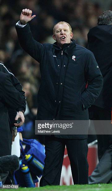 Gary Megson, manager of Bolton Wanderers gestures to the Bolton Wanderers fans, after his team drew with Blackburn Rovers during the Barclays Premier...