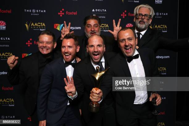 Gary Mehigan Matt Preston and George Calombaris of Masterchef Australia pose with an AACTA Award for Best Reality Television Series during the 7th...