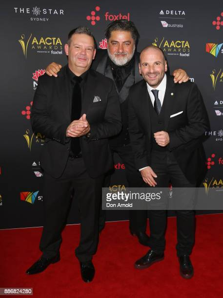 Gary Mehigan Matt Preston and George Calombaris pose during the 7th AACTA Awards at The Star on December 6 2017 in Sydney Australia