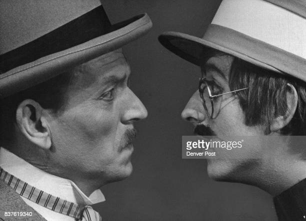 Gary Montgomery as Phileas Fogg peripatetic globe trotter faces up to Jerry Miller as Gasse one of his stumbling blocks in getting Around the World...
