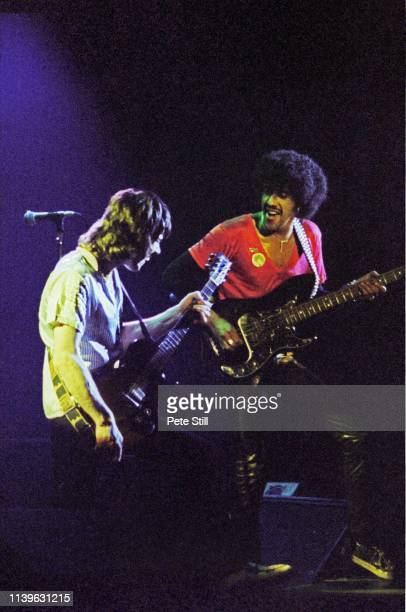 Gary Moore and Phil Lynott of Thin Lizzy perform on stage at Hammersmith Odeon on April 27th 1979 in London United Kingdom