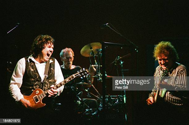 Gary Moore Ginger Baker and Jack Bruce of BBM perform on stage at Brixton Academy on June 5th 1994 in London England