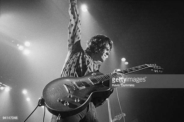 Gary Moore of Thin Lizzy performs on stage at the Apollo Manchester on 1st May 1979 in Manchester United Kingdom He plays a Gibson Les Paul Standard...
