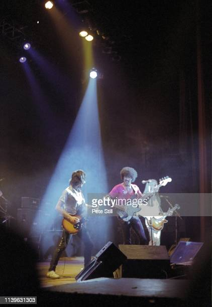 Gary Moore Phil Lynott and Scott Gorham of Thin Lizzy perform on stage at Hammersmith Odeon on April 27th 1979 in London United Kingdom