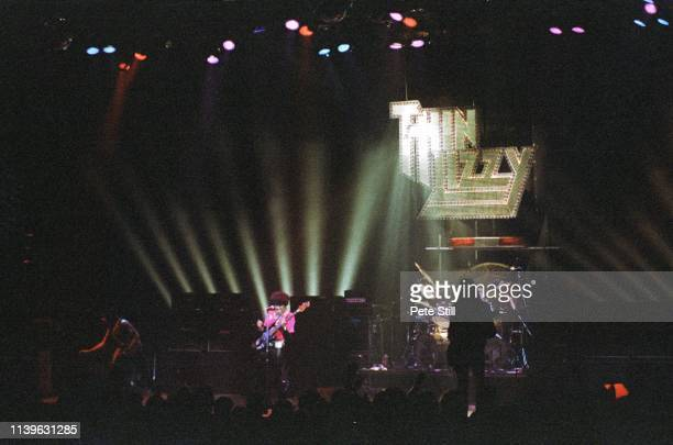 Gary Moore Phil Lynott Scott Gorham and Brian Downey of Thin Lizzy perform on stage at Hammersmith Odeon on April 27th 1979 in London United Kingdom