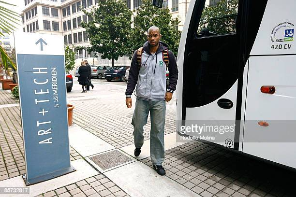 Gary Neal #14 of Benetton Basket Arrival at the Palasport on March 31 2009 in Turin Italy