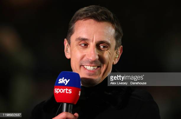Gary Neville a commentator for Sky Sports looks on prior to the Premier League match between Sheffield United and West Ham United at Bramall Lane on...