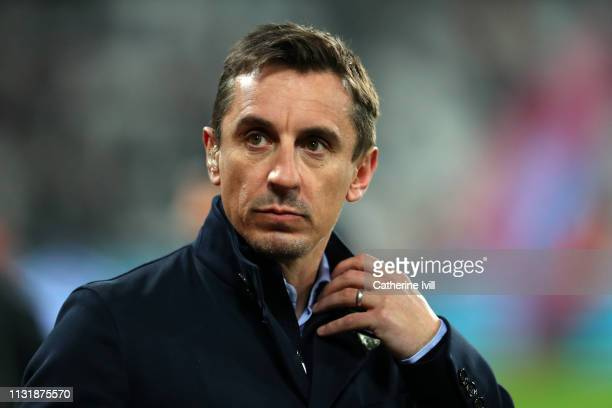 Gary Neville ahead of the Premier League match between West Ham United and Fulham FC at London Stadium on February 22 2019 in London United Kingdom