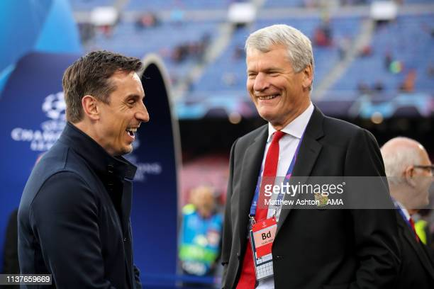 Gary Neville and David Gill during the UEFA Champions League Quarter Final second leg match between FC Barcelona and Manchester United at Camp Nou on...